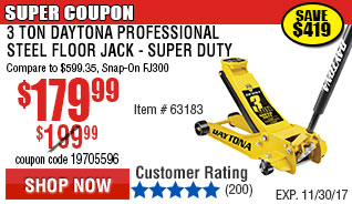3 Ton Daytona Professional Steel Floor Jack - Super Duty