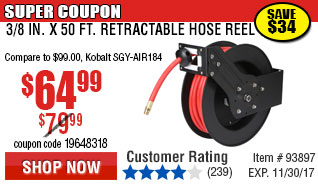 3/8 in. x 50 ft. Retractable Hose Reel