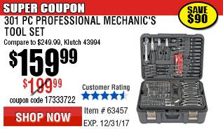301 Pc Professional Mechanic's Tool Set