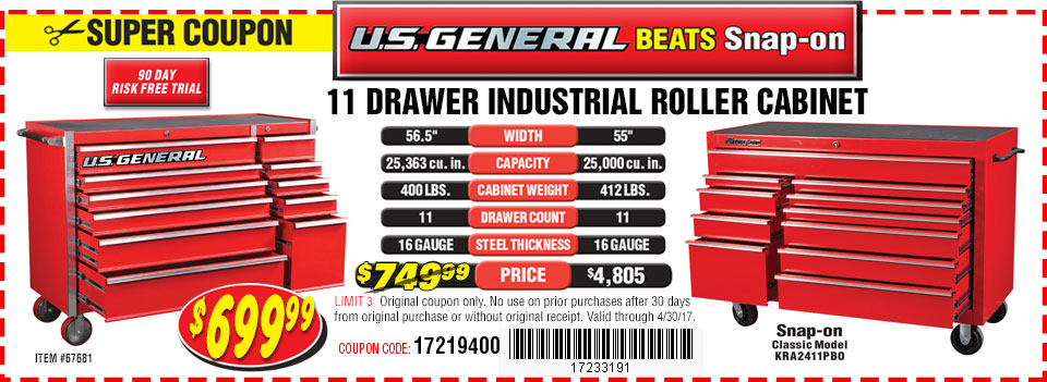 US General Cabinets beats Snap-on Cabinets