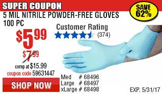 5 mil Nitrile Powder-Free Gloves 100 Pc