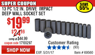 13 Pc 1/2 in. Drive Impact Deep Wall Socket Set