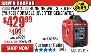 8750 Peak/7000 Running Watts, 13 HP  (420cc) Generator CARB with GFCI Outlet Protection