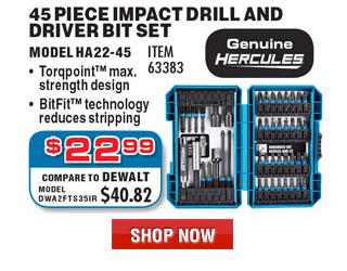 45 Pc Hercules Impact Driver Bit Set