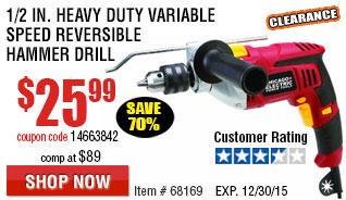Heavy Duty Variable Speed Reversible Hammer Drill