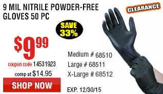 9 mil Nitrile Powder-Free Gloves 50 Pc