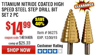 Titanium Nitride Coated High Speed Steel Step Drill Bit Set 2 Pc