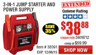 3-in-1 jump start power supply