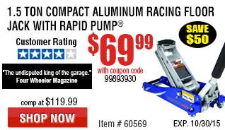 15-Ton Compact Aluminum Racing Floor Jack