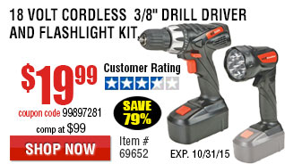 Cordless Drill/Driver And Flashlight Kit