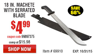 18 in. Machete with Serrated Blade