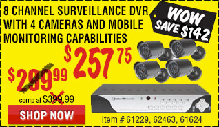 8 Channel Surveillance DVR with 4 Cameras
