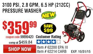 3100 PSI, 2.8 GPM, 6.5 HP (212cc) Pressure Washer