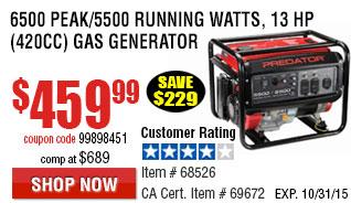 6500 Peak/5500 Running Watts, 13 HP  (420cc) Generator