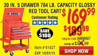 30 in. 5 Drawer Glossy Red Tool Cart