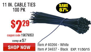 11 in. Cable Ties 100 Pk