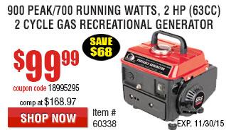900 Peak/700 Running Watts, 2 HP  (63cc) 2 Cycle Gas Generator