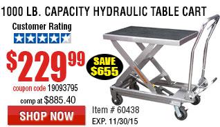 1000 lb. Capacity Hydraulic Table Cart