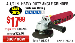 4-1/2 in. 4.5 Amp Heavy Duty Angle Grinder