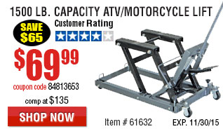 1500 Lb. Capacity ATV/Motorcycle Lift