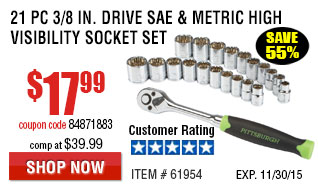 21 Pc 3/8 in. Drive SAE & Metric High Visibility Socket Set