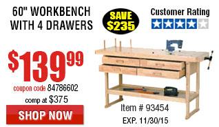 60 in. 4 Drawer Hardwood Workbenc
