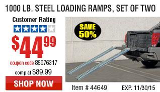 1000 lb. Capacity 9 in. x 72 in. Steel Loading Ramps