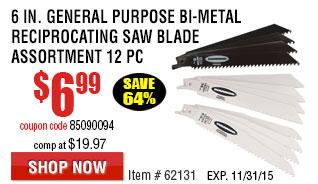 6 in. General Purpose Bi-Metal Reciprocating Saw Blade Assortment