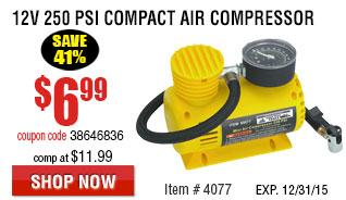 12V 250 PSI Compact Air Compressor