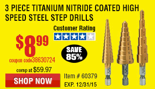 Titanium Nitride Coated High Speed Steel Step Drill Bit Set 3 Pc