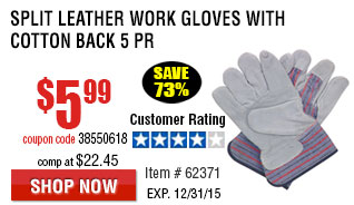Split Leather Work Gloves with Cotton Back 5 Pr