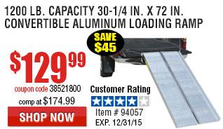 1200 lb. Capacity 30-1/4 in. x 72 in. Convertible Aluminum Loading Ramp