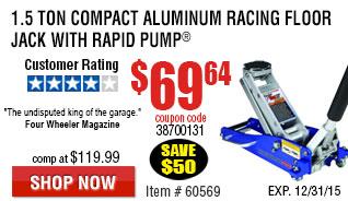 21.5 Ton Compact Aluminum Racing Floor Jack with Rapid Pump