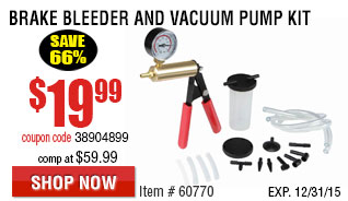 Brake Bleeder and Vacuum Pump Kit