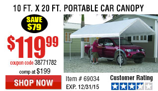 110 ft. x 20 ft. Portable Car Canopy