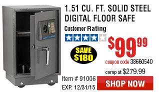 1.51 cu. ft. Solid Steel Digital Floor Safe