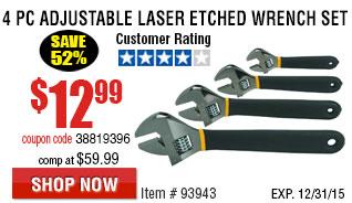 4 Pc Adjustable Laser Etched Wrench Set