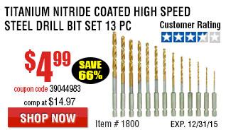 Titanium Nitride Coated High Speed Steel Drill Bit Set 13 Pc