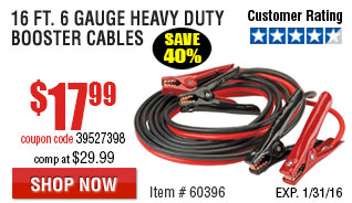 16 Ft. 6 Gauge Heavy Duty Booster Cables