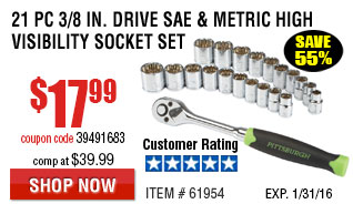 21 Pc 3/8 in. Drive SAE and Metric High Visibility Socket Set