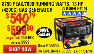 8750 Peak/7000 Running Watts, 13 HP  (420cc) Generator CARB