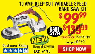 10 Amp Deep Cut Variable Speed Band Saw Kit