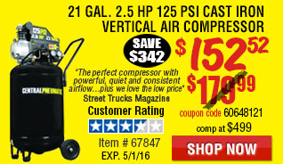 21 gal. 2-1/2 HP 125 PSI Cast Iron Vertical Air Compressor