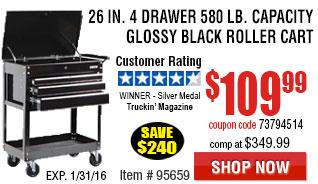 26 in. 4 Drawer 580 lb. Capacity Glossy Black Roller Cart