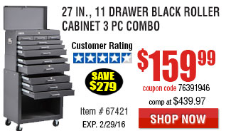 27 in., 11 Drawer Black Roller Cabinet 3 Pc Combo
