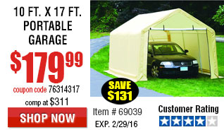 10 ft. x 17 ft. Portable Garage