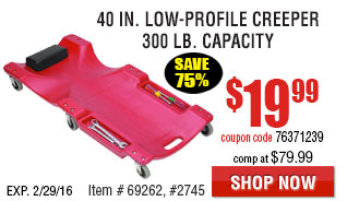 40 in. 300 lb. Capacity Low-Profile Creeper