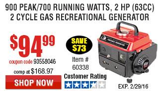 900 Peak/700 Running Watts, 2 HP  (63cc) 2 Cycle Gas Generator EPA/CARB