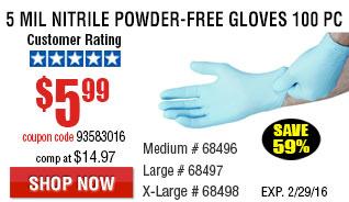 5 mil Nitrile Powder-Free Gloves