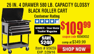 26 in. 4 Drawer 580 lb. Capacity Glossy Black Roller Cart